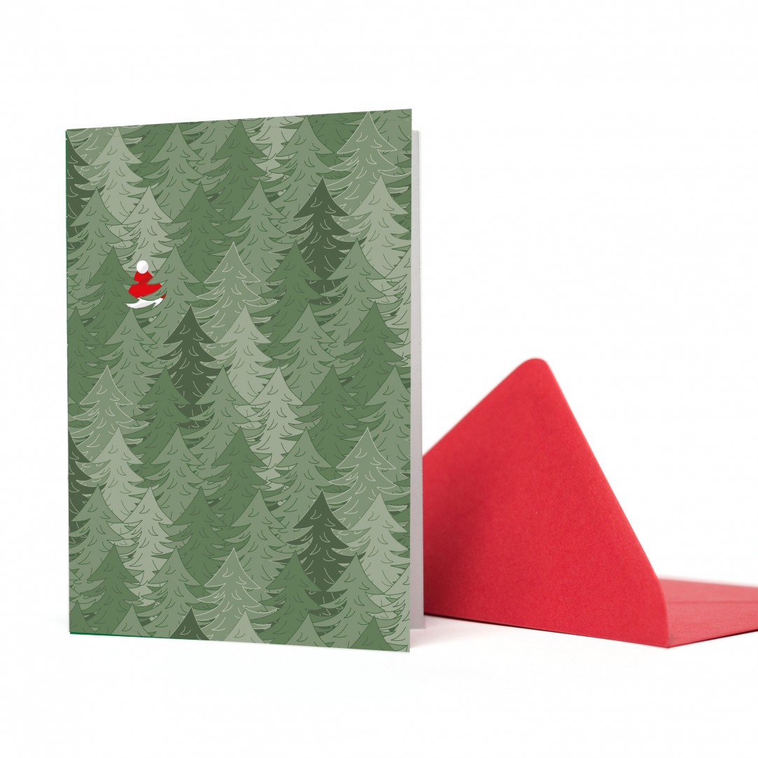 CARD SANTA IN FOREST