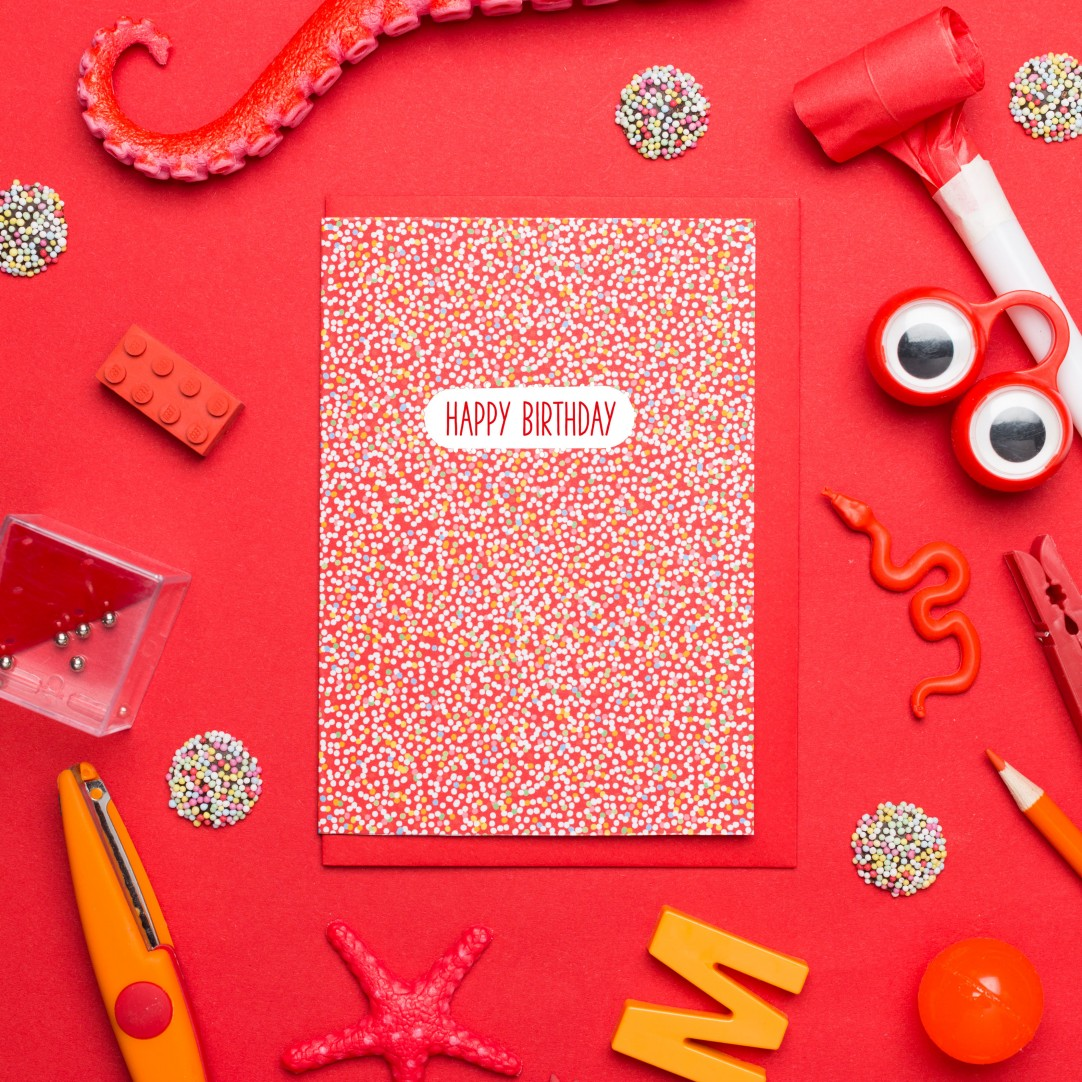 """CARD NONPAREILLES """"HAPPY BIRTHDAY"""" - RED"""