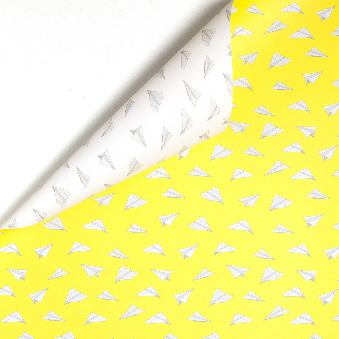 GIFT WRAP PAPER PLANES - YELLOW