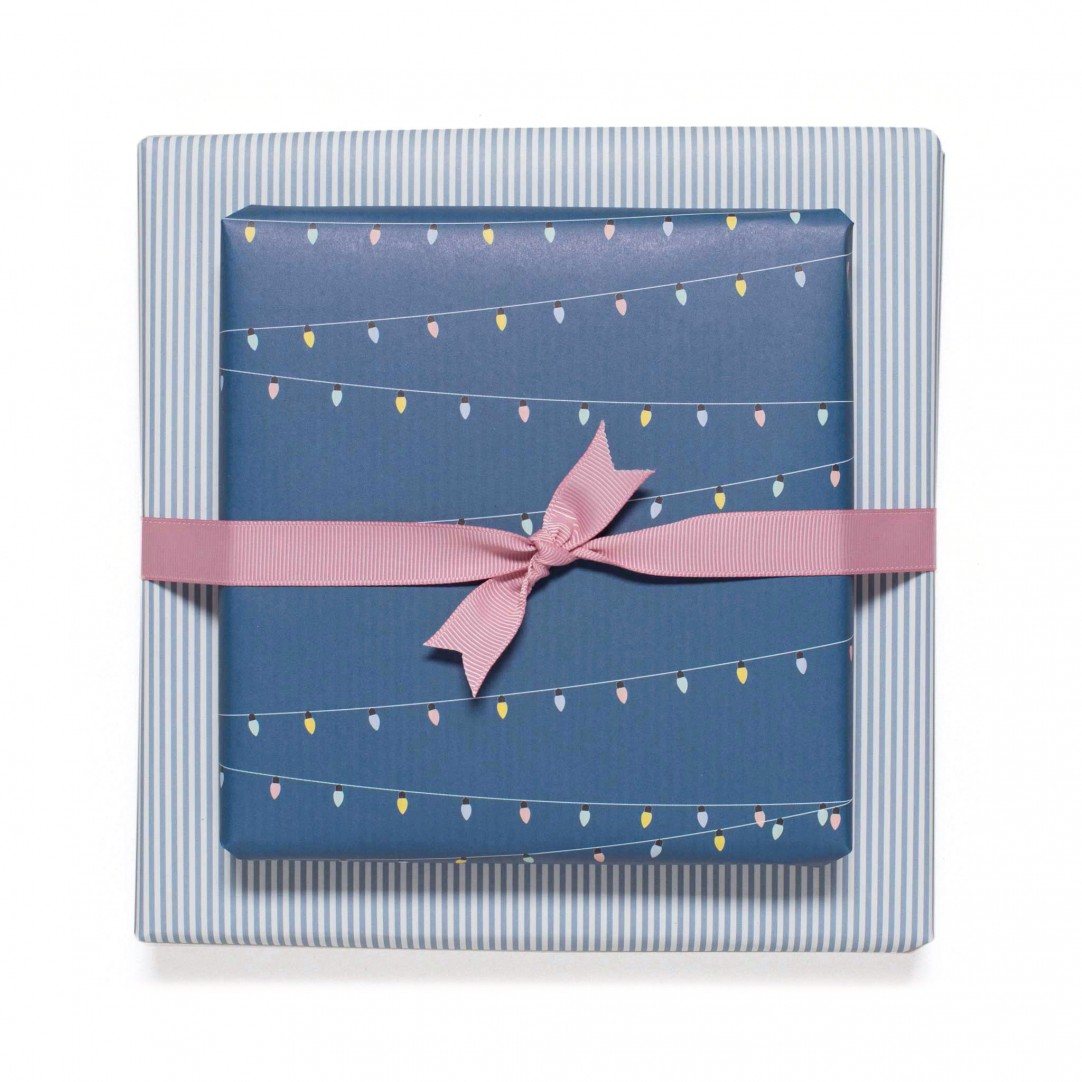 GIFT WRAP LIGHTS & STRIPES - BLUE