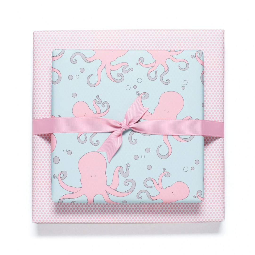 GIFT WRAP OCTOPUS - ROSY