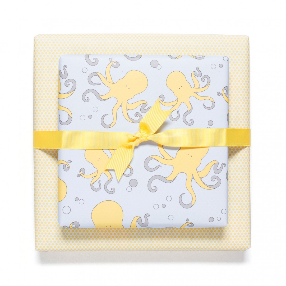 GIFT WRAP OCTOPUS - YELLOW