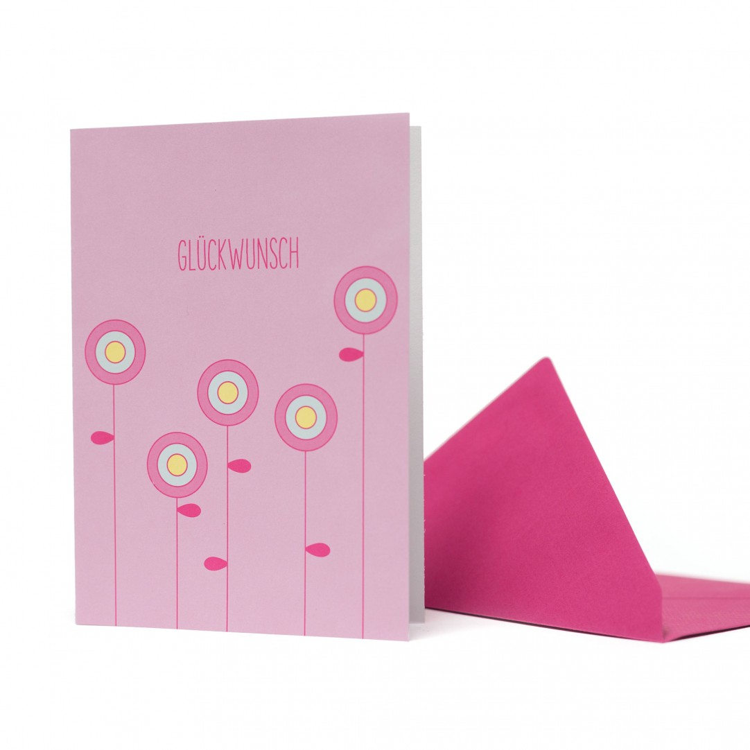CARD FLOWERS - PINK