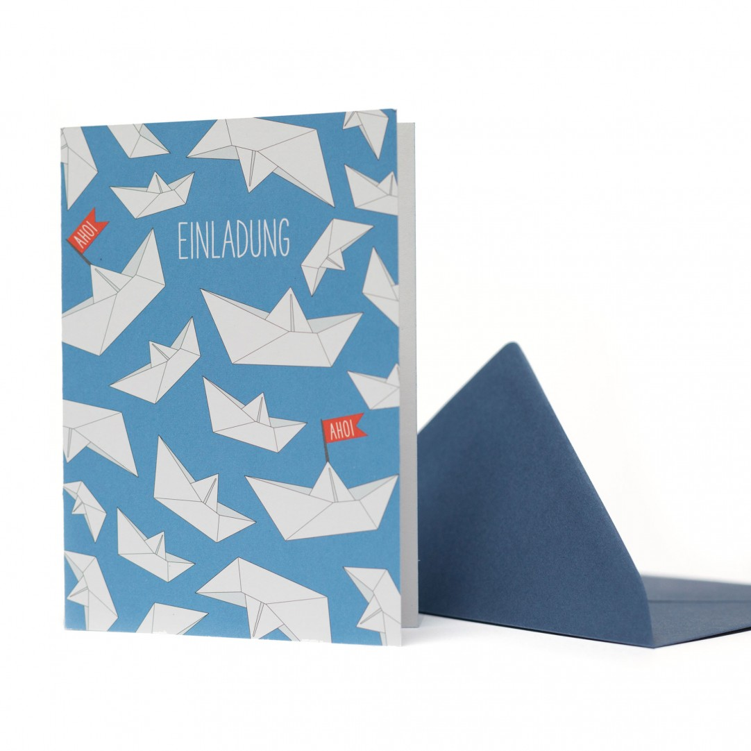 3 INVITATIONS BOATS - BLUE