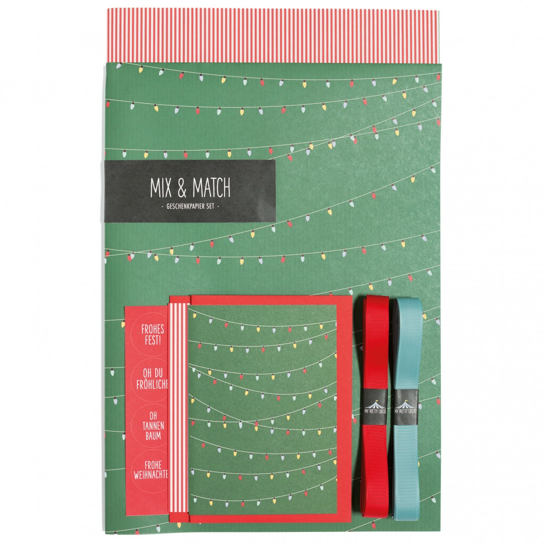 Gift Wrapping Set - Fairy Lights - Green - English