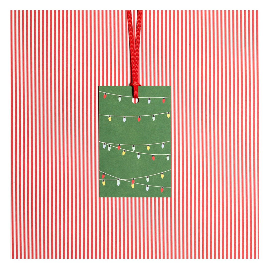 5 Gift Tags Fairy Lights green