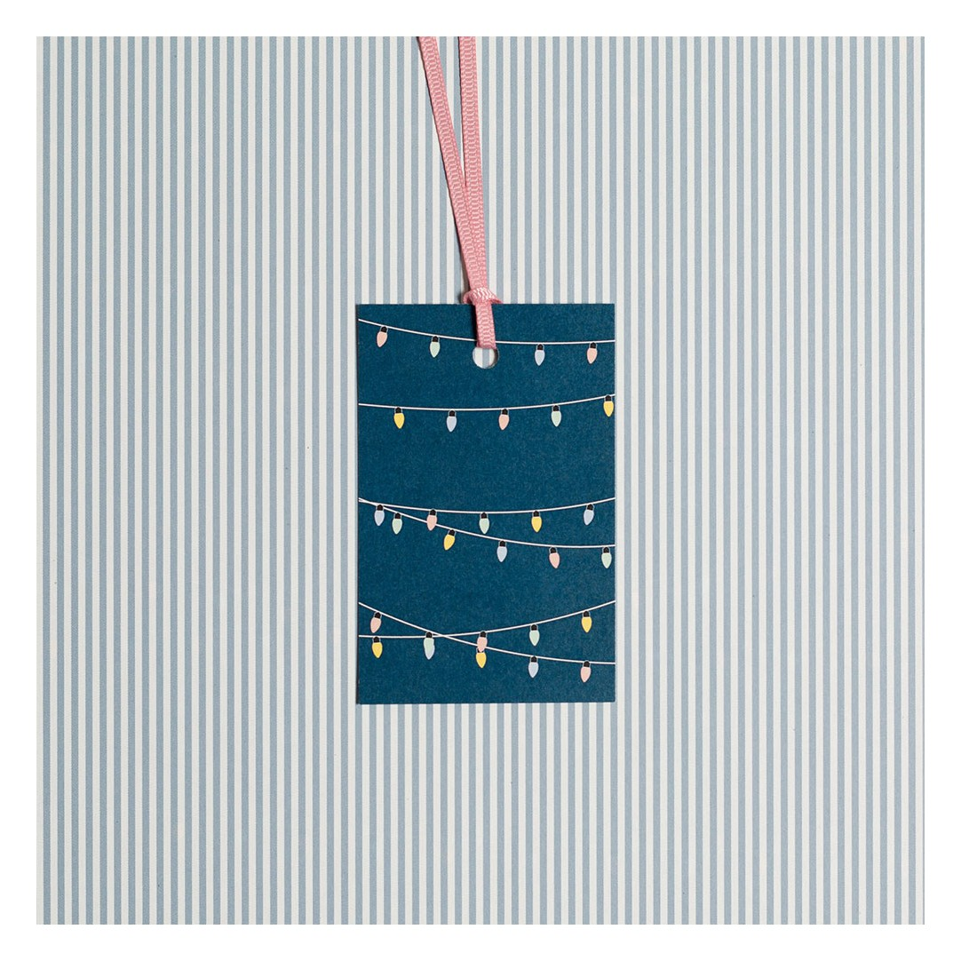 5 Gift Tags Fairy Lights blue